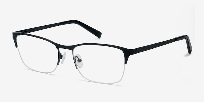 Time Black Metal Eyeglass Frames from EyeBuyDirect, Angle View