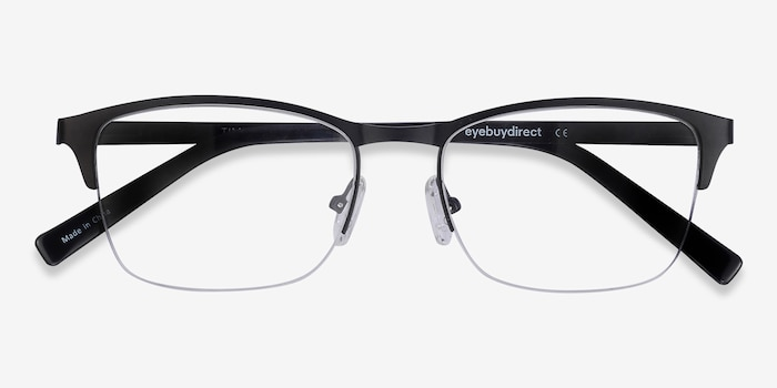 Time Black Metal Eyeglass Frames from EyeBuyDirect, Closed View
