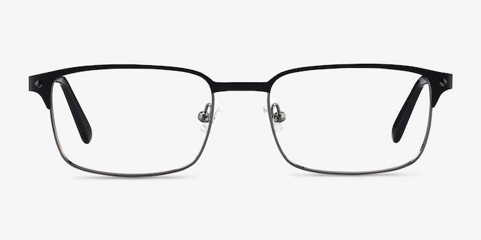 Normandy Black Metal Eyeglass Frames from EyeBuyDirect, Front View