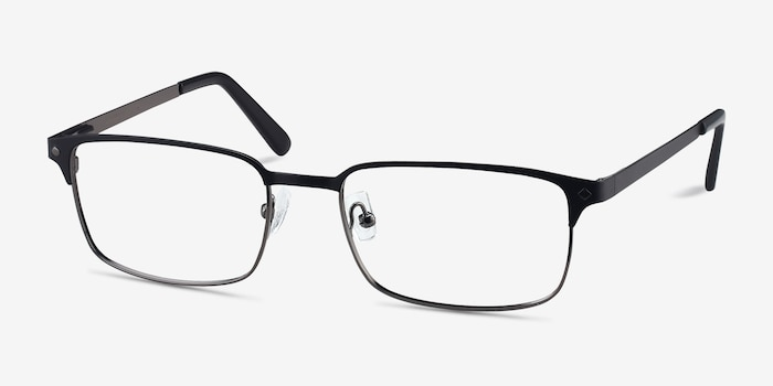 Normandy Black Metal Eyeglass Frames from EyeBuyDirect, Angle View