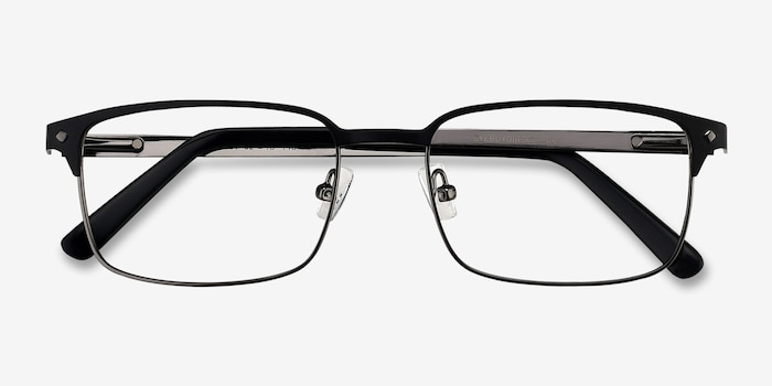 Normandy Black Metal Eyeglass Frames from EyeBuyDirect, Closed View