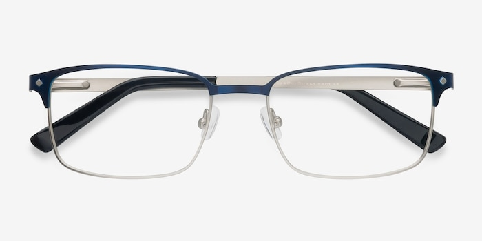 Normandy Navy Metal Eyeglass Frames from EyeBuyDirect, Closed View