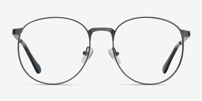 Lotus Gunmetal Metal Eyeglass Frames from EyeBuyDirect, Front View