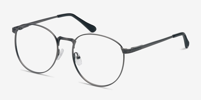 Lotus Gunmetal Metal Eyeglass Frames from EyeBuyDirect, Angle View