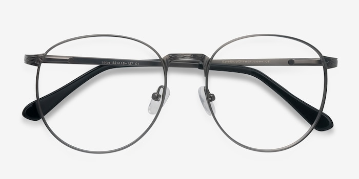 Lotus Gunmetal Metal Eyeglass Frames from EyeBuyDirect, Closed View