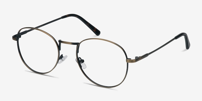 Shanghai Bronze Metal Eyeglass Frames from EyeBuyDirect, Angle View