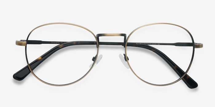 Shanghai Bronze Metal Eyeglass Frames from EyeBuyDirect, Closed View
