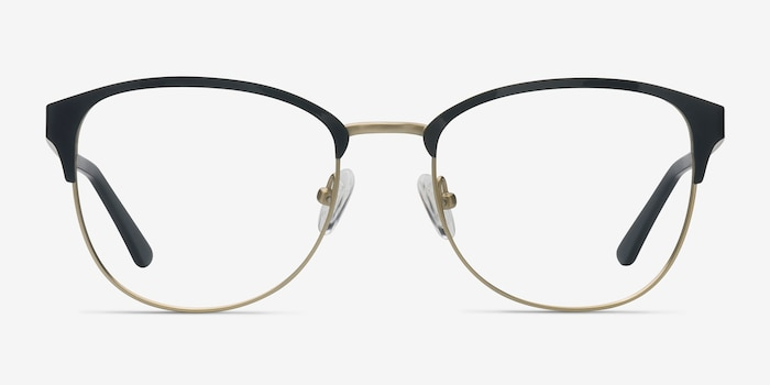 The Moon Black Golden Metal Eyeglass Frames from EyeBuyDirect, Front View