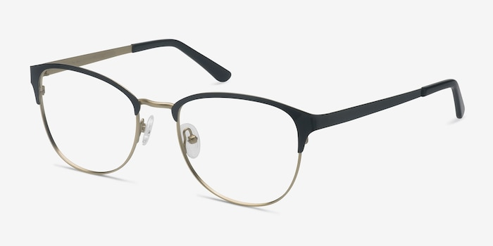 The Moon Black Golden Metal Eyeglass Frames from EyeBuyDirect, Angle View