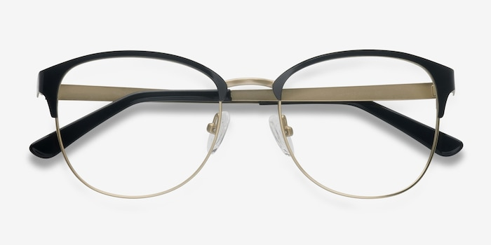 The Moon Black Golden Metal Eyeglass Frames from EyeBuyDirect, Closed View