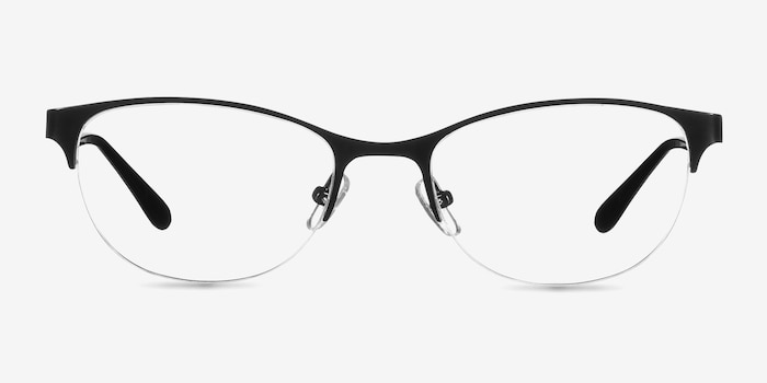 Melody Matte Black Metal Eyeglass Frames from EyeBuyDirect, Front View
