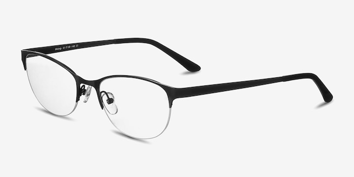 Melody Matte Black Metal Eyeglass Frames from EyeBuyDirect, Angle View