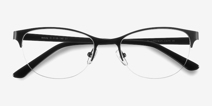Melody Matte Black Metal Eyeglass Frames from EyeBuyDirect, Closed View