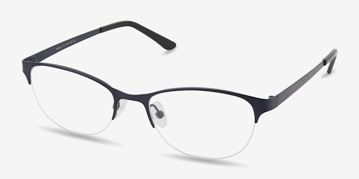 Melody Navy Metal Eyeglass Frames from EyeBuyDirect, Angle View
