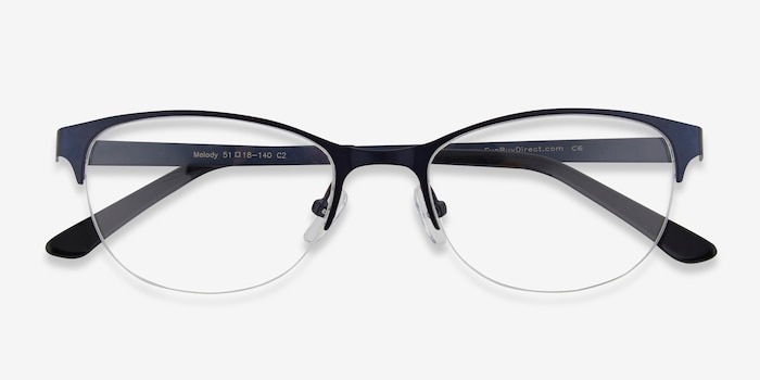 Melody Navy Metal Eyeglass Frames from EyeBuyDirect, Closed View