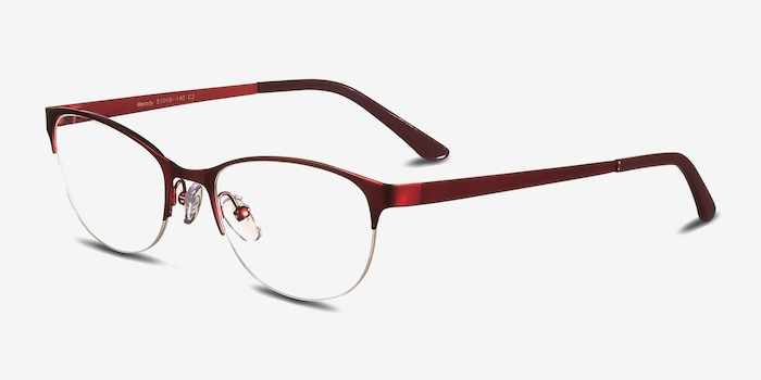 Melody  Red  Metal Eyeglass Frames from EyeBuyDirect, Angle View