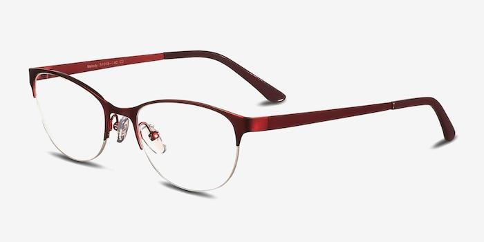 Melody  Red  Métal Montures de Lunettes d'EyeBuyDirect, Vue d'Angle