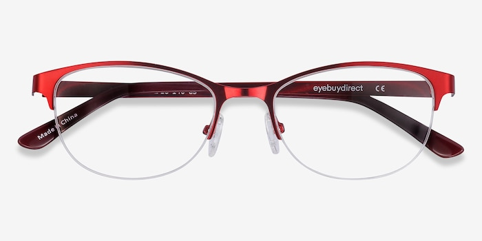 Melody  Red  Metal Eyeglass Frames from EyeBuyDirect, Closed View