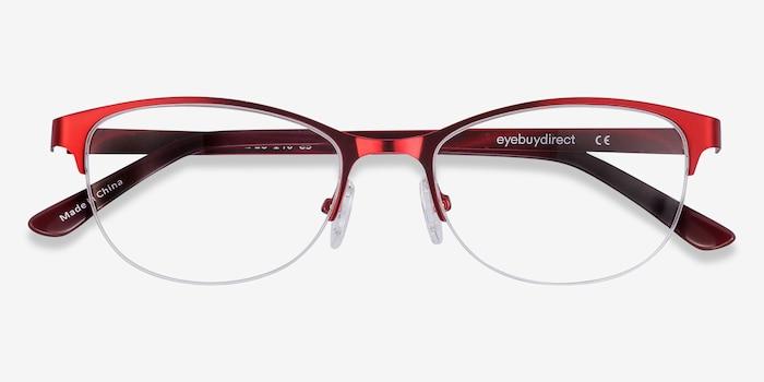 Melody  Red  Métal Montures de Lunette de vue d'EyeBuyDirect, Vue Rapprochée