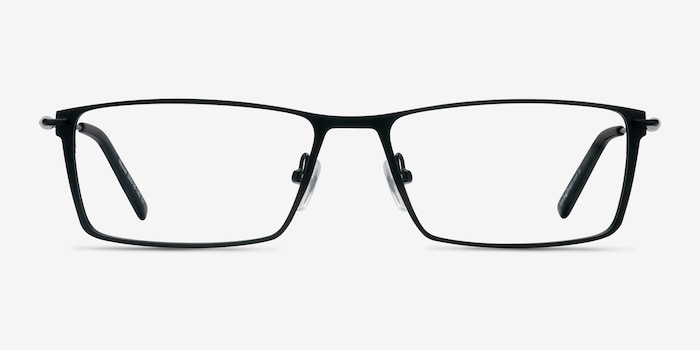 Nouvel Black Metal Eyeglass Frames from EyeBuyDirect, Front View