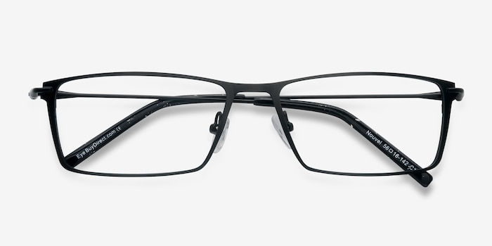 Nouvel Black Metal Eyeglass Frames from EyeBuyDirect, Closed View