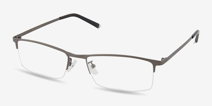 Vega Gunmetal Metal Eyeglass Frames from EyeBuyDirect, Angle View