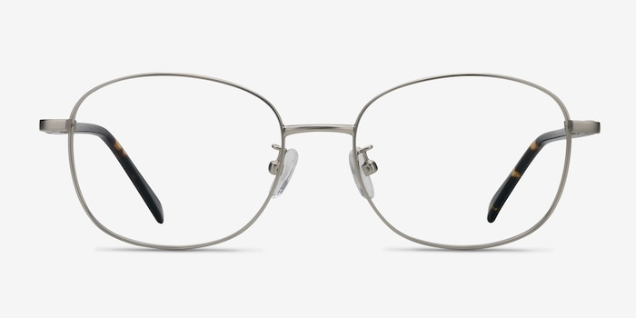 Behold Silver Metal Eyeglass Frames from EyeBuyDirect, Front View