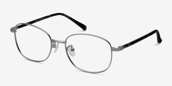 Behold Silver Metal Eyeglass Frames from EyeBuyDirect, Angle View