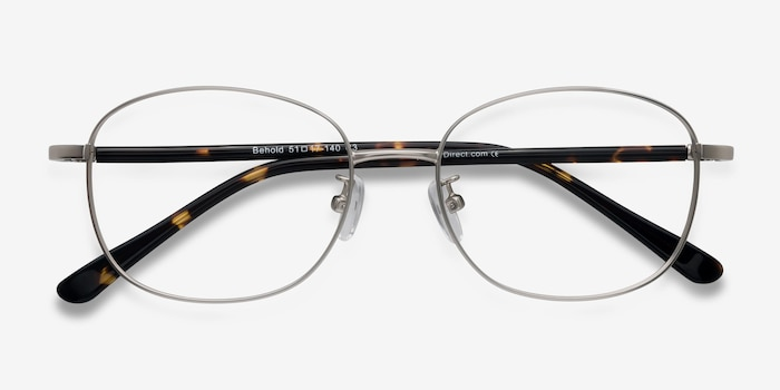 Behold Silver Metal Eyeglass Frames from EyeBuyDirect, Closed View