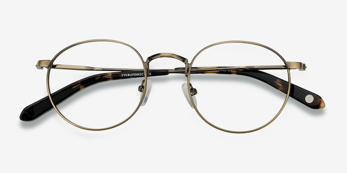 Circus Bronze Metal Eyeglass Frames from EyeBuyDirect, Closed View