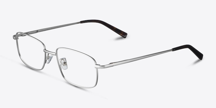 Bryce Silver Metal Eyeglass Frames from EyeBuyDirect, Angle View