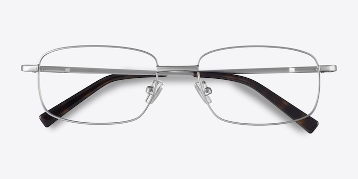 Bryce Silver Metal Eyeglass Frames from EyeBuyDirect, Closed View