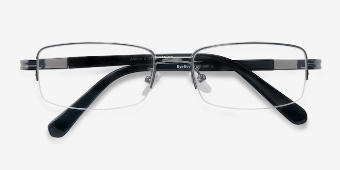 Above Gunmetal Metal Eyeglass Frames from EyeBuyDirect, Closed View