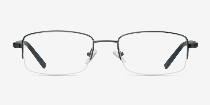 Hiro Gunmetal Metal Eyeglass Frames from EyeBuyDirect, Front View