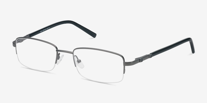 Hiro Gunmetal Metal Eyeglass Frames from EyeBuyDirect, Angle View