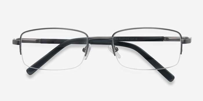 Hiro Gunmetal Metal Eyeglass Frames from EyeBuyDirect, Closed View