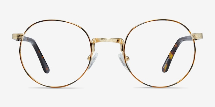 Basquiat Golden/Tortoise Metal Eyeglass Frames from EyeBuyDirect, Front View