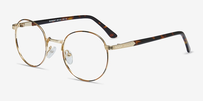 Basquiat Golden/Tortoise Metal Eyeglass Frames from EyeBuyDirect, Angle View
