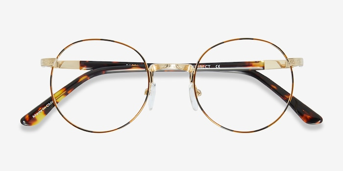 Basquiat Golden/Tortoise Metal Eyeglass Frames from EyeBuyDirect, Closed View