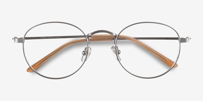 Cupertino  Silver  Metal Eyeglass Frames from EyeBuyDirect, Closed View