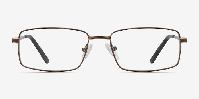 Parcel Brown Metal Eyeglass Frames from EyeBuyDirect, Front View