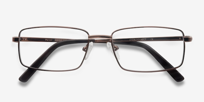 Parcel Brown Metal Eyeglass Frames from EyeBuyDirect, Closed View