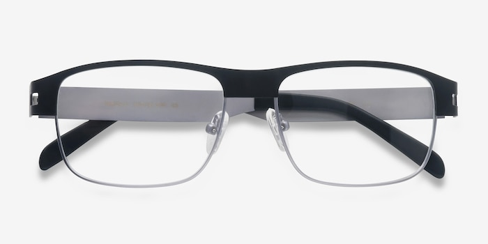 Wallace Matte Black Metal Eyeglass Frames from EyeBuyDirect, Closed View