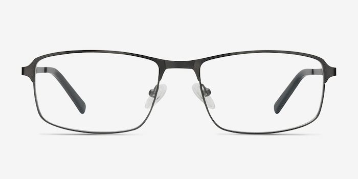Capacious Matte Gunmetal Metal Eyeglass Frames from EyeBuyDirect, Front View