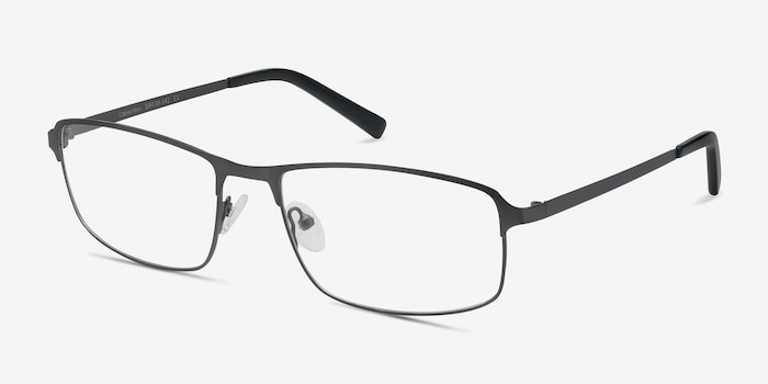 Capacious Matte Gunmetal Metal Eyeglass Frames from EyeBuyDirect, Angle View