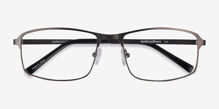 Capacious Matte Gunmetal Metal Eyeglass Frames from EyeBuyDirect, Closed View