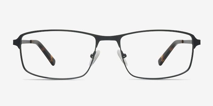 Capacious Black Metal Eyeglass Frames from EyeBuyDirect, Front View