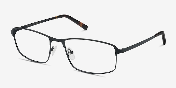 Capacious Black Metal Eyeglass Frames from EyeBuyDirect, Angle View