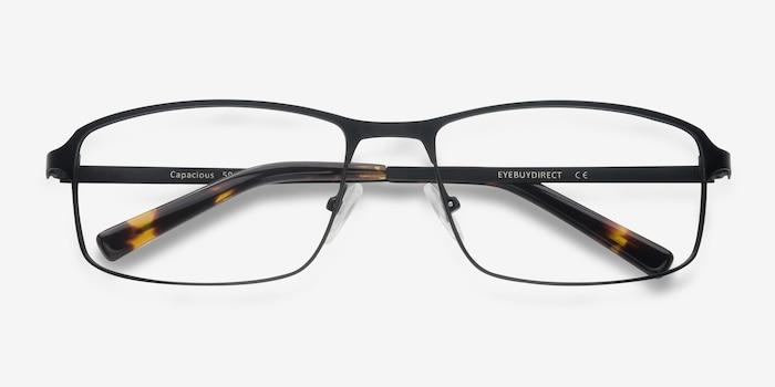 Capacious Black Metal Eyeglass Frames from EyeBuyDirect, Closed View