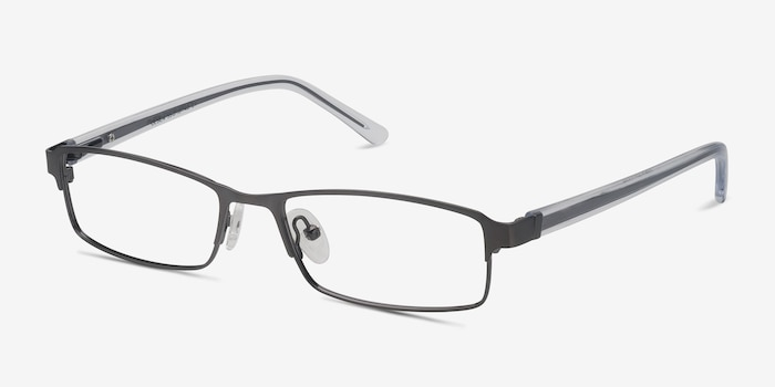 Olsen Gunmetal Metal Eyeglass Frames from EyeBuyDirect, Angle View